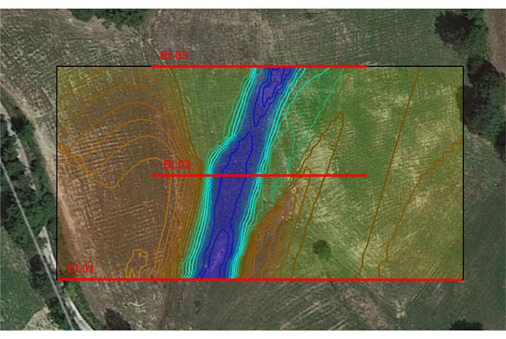 tomografia elettrica in idrogeologia - pianta