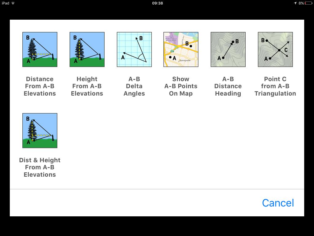 calcolatore di altezze e distanze theodolite iOS app
